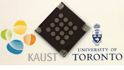 A prototype of the U of T-made colloidal quantum dot solar cell.