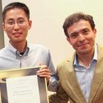Michael Zhang (Pharmacy 2014) with Hatchery executive director Joseph Orozco