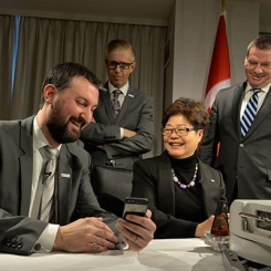 IBBME Professor Alex Mihailidis (left) with the Minister of State for Seniors Alice Wong (centre-right) following an announcement of $36.6 million for a new national research network (Photo: Stephanie Lake).