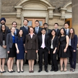 The 2015 U of T Engineering Gordon Cressy Student Leadership Award winners pose with Dean Cristina Amon (Photo: Roberta Baker).