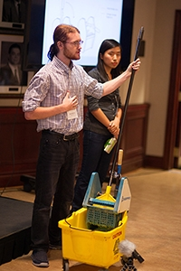 Ryan Williams and Shuyi Wu demonstrate the PowerWring in action at the Hatchery Demo Day, held in September 2014 (Photo: William Ye)