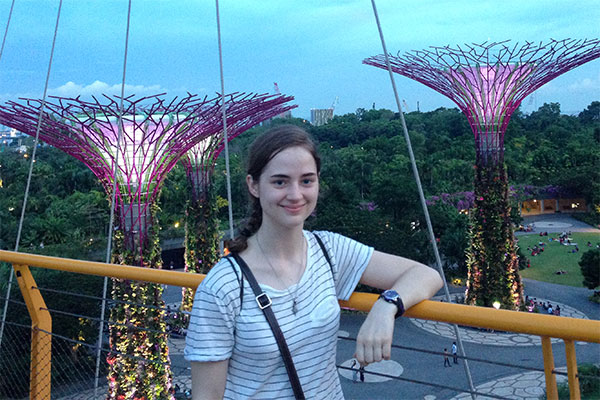 Brittany Green enjoying the Gardens by the Bay, one of the major parks in Singapore.