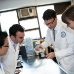 Professor David Stinton in the lab with colleagues