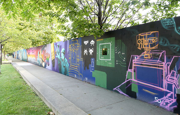 Graffiti wall outside the future site of the Centre for Engineering Innovation & Entrepreneurship