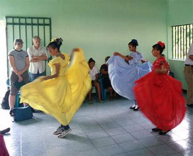 In addition to gathering data on wind speeds and farm irrigation needs, students were treated to a dance performance on their trip to Nicaragua. (Photo: John Shoust)