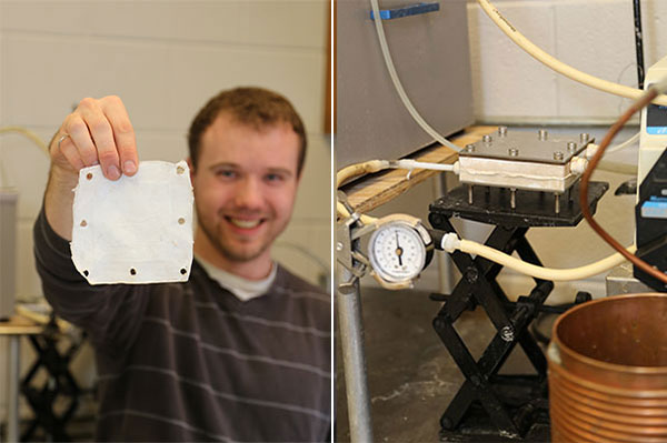 MASc candidate Michael Blain displays the nanofibre membrane used for the distillation system. In the apparatus (right) water flows on one side of the membrane and vapour flows on the other. The vapour is condensed into pure, clean water. (Photo: Tyler Irving)