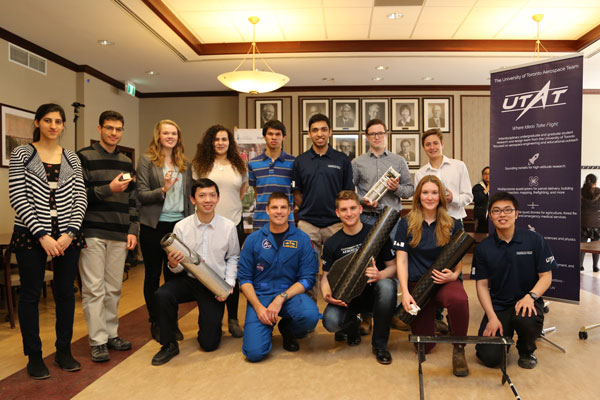 Astronaut Jeremy Hansen (front row, second from left) and members of the University of Toronto Aerospace Team (UTAT). (Photo: Tyler Irving)