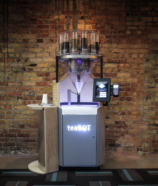 teaBOT creates customized, robot-blended cups of loose-leaf tea, brewed in under 30 seconds. Its machines are deployed in Toronto and various cities in California. (Photo courtesy of teaBOT)