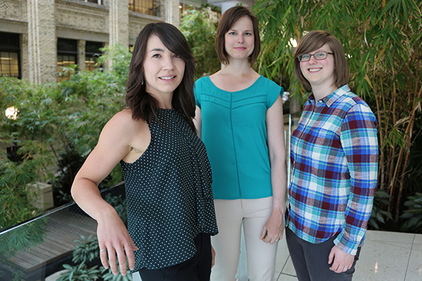 Left to right: Jaclyn Obermeyer, Malgosia Pakulska and Irja Elliott Donaghue, supervised by University Professor Molly Shoichet, are the first to show controlled release of proteins without encapsulating them in nanoparticles. (Credit: Marit Mitchell).