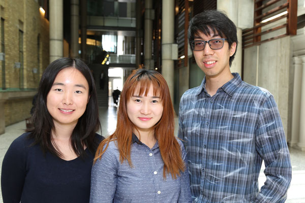Annie Mao, Fiona Gan and Harris Chan (all EngSci 1T5 + PEY) are three members of PhysioPhriend, a startup that is building an app to help improve outcomes for physiotherapy patients. (Photo: Tyler Irving)