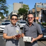 Dr. Cheol-Heon Jeong (left) and Professor Greg Evans (ChemE) measured emissions from gasoline direct-injection engines and evaluated climate trade-offs of the more efficient engine type. It turns out greater efficiency doesn't always mean greener for the planet. (Credit: Tyler Irving).
