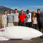 The Aerovelo team (left to right: Trefor Evans, Tomek Bartczak, Cameron Robertson, Todd Reichert, Michael Kiiru, Jenny Reichert, Alex Selwa), co-founded by U of T Engineering Alumni, set a new world record for the fastest human-powered vehicle on earth, breaking their own record set the year before. (Photo: Anupam Singhal)