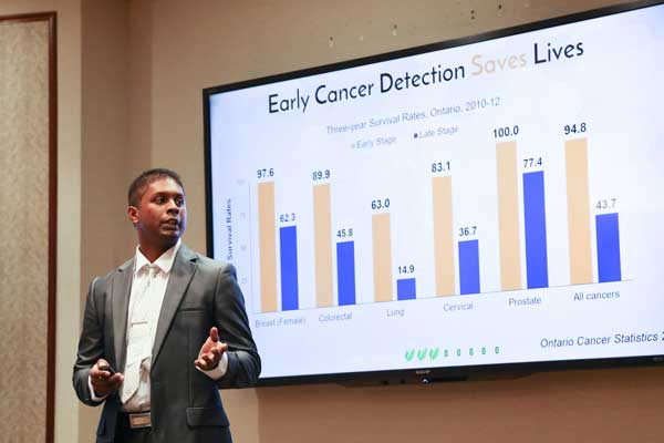 At Hatchery Demo Day, Ricardo Harripaul, co-founder of Enrich Biosciences, explain how his company's new diagnostic test could help detect cancer earlier, when chances of survival are greatest. (Photo: Roberta Baker)