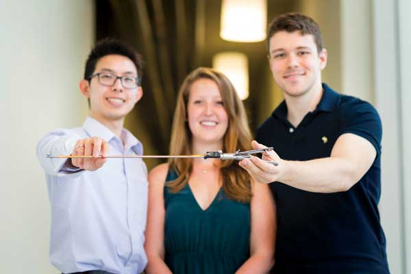 The SensOR team includes (from left to right): Justin Wee (ECE 1T3, IBBME PhD candidate), co-founder and chief technical officer; Leigh Masotti, head of business development; and Robert Brooks (MIE PhD 1T5), co-founder and chief executive officer.  (Photo: Neil Ta)