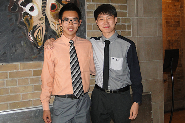 James Xu, at left, and Kevin Han (both Year 1 EngSci) have been named 2016 recipients of the Schulich Leader Scholarships. (Courtesy: DUA)