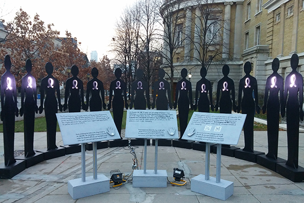 Engineering undergraduate students built a monument to mark the December 6 National Day of Remembrance and Action on Violence Against Women. The installation is a tribute to the 14 victims of the 1989 massacre at l'Ecole Polytechnique in Montreal. (Courtesy: Engineering Society)