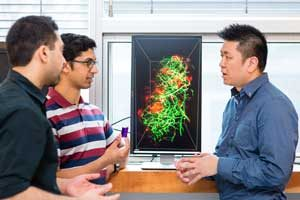 Professor Warren Chan (IBBME, right) uses nanotechnology to deliver cancer drugs directly to tumours, minimizing harmful side effects. (Photo: Neil Ta)