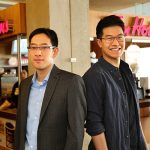 "Professor Timothy Chan (MIE, left) and Christopher Sun (MIE PhD candidate) studied data on cardiac arrest locations in Toronto to determine a list of ""Top 10"" businesses where placing automated external defibrillators would save lives — Tim Hortons coffee shops topped the rankings. (Credit: Marit Mitchell)."
