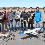 Left to right: U of T Engineering students Oliver Wu, Andrew Ilersich, Erik Chau, Winston Liu, Kevin Dong, Kevin Xu, Rikky Duivenvoorden and Spencer Zhao. This team took first place at the Unmanned Systems Canada UAS Student Competition. (Courtesy: UTAT)