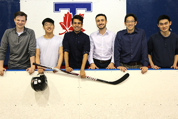 From left: Ben Potter (IndE MASc candidate), Michael Shin (EngSci Year 4), Rafid Mahmood (IndE PhD candidate), Yusuf Shalaby (IndE 1T7), Professor Tim Chan (MIE) and Albert Loa (EngSci Year 3) used their expertise in operations research to create a tool that drafts the optimal roster for the NHL's new expansion team, the Las Vegas Golden Knights. (Credit: Marit Mitchell).