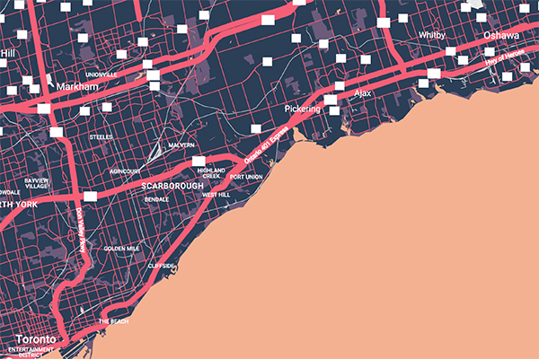 Optimizing traffic flow between the City of Oshawa, at right, and Toronto, lower left, is one challenge that Master of Engineering students in the Cities Engineering and Management program at U of T will study in the newly established 'teaching city.' (Image: Google Maps).