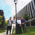 U of T Engineering students Andy Liao (Year 2 CivE), Ernesto Diaz Lozano Patiño (CivE 1T5 + PEY, MASc candidate), Alejandro Sarellano Acevedo (ECE MEng candidate), and Mackenzie de Carle (Year 3 CivE) are members of the team that earned a $20,000 prize for their proposal to install solar-powered street lighting in Mexico City's Toltenco community.