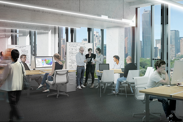 Flexible design and meeting rooms in the Centre for Engineering Innovation & Entrepreneurship will spark multidisciplinary collaborations and facilitate active communication. (Image courtesy Feilden Clegg Bradley Studios).