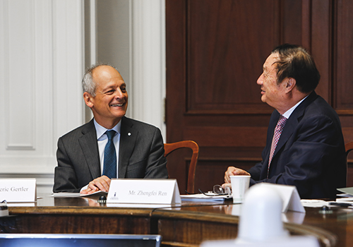 U of T President Meric Gertler and Huawei CEO Ren Zhengfei chat about their strategic research partnership. (Photo:Tristan Cannon-Sherlock).