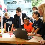 Prime Minister Justin Trudeau meets with elementary school students who spent the day designing the neighbourhood of the future at a workshop held by U of T Engineering Outreach. The project was part of an announcement by Waterfront Toronto and Sidewalk Labs to design a new kind of mixed-use, complete community on Toronto's Eastern Waterfront. (Photo: Roberta Baker)