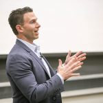 U of T Engineering alumnus Tony Lacavera (CompE 9T7) addresses aspiring entrepreneurs as part of startup accelerator The Entrepreneurship Hatchery's speaker series, Nov. 23, 2017. (Credit: Tristan Cannon-Sherlock).