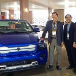 From left: UTEV's Professor Peter Lehn, Dr. Theo Soong, and Professor Olivier Trescases (all ECE) at the Electric Mobility Canada Show with Havelaar's electric pick-up truck, the Bison. (Credit: Sonja Persram).