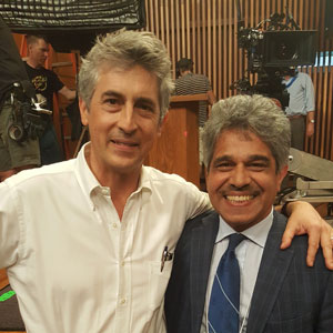 Director Alexander Payne with Professor Javad Mostaghimi (MIE) during the filming of the film Downsizing.