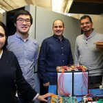 From left: Daniela Galatro (MIE PhD candidate), Zhe Gong (ECE MASc candidate), Carlos Da Silva (MIE PhD 1T6), Kshitij Gupta (MIE MASc candidate) are members of a multidisciplinary team improving battery technology for electric vehicles. (Credit: Liz Do).