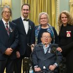 Her Excellency the Right Honourable Julie Payette (ECE MASc 9T0, at right) presents the Meritorious Service Cross to Professor Tom Chau (IBBME), Pierre Duez (EngSci 0T0, MASc IndE 0T3), Andrea Lamont, and Eric Wan (CompE 1T0, ECE MASc 1T3) on Tuesday, December 12, 2017, during a ceremony at Rideau Hall. (Credit: MCpl Vincent Carbonneau, Rideau Hall, OSGG).