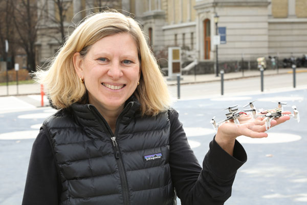 Professor Mireille Broucke (ECE) uses flying robots like these drones as a testbed to develop control algorithms capable of handling dynamic, real-world situations. (Photo: Tyler Irving)