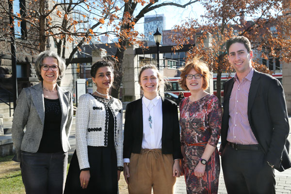 Professors Brenda McCabe, Daman Panesar, Shoshanna Saxe, Heather MacLean and Daniel Posen (all CivE) are collaborating with companies in construction, building services and engineering consulting to reduce the greenhouse gas impacts of future infrastructure projects. (Photo: Tyler Irving)