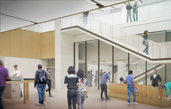 The lower level of the Myhal Centre for Engineering Innovation & Entrepreneurship will contain a performance space and dedicated facilities for student clubs and teams. (Image courtesy Montgomery Sisam Architects & Feilden Clegg Bradley Studios)