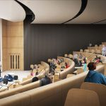 Passive lecture theatres are a thing of the past: the CEIE's auditorium is designed instead around audience engagement and interaction. (Image courtesy Montgomery Sisam Architects & Feilden Clegg Bradley Studios)