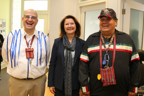 Left to right: Professor Jason Bazylak, Dean Cristina Amon and Elder Kim Running Bear McDougall at a reception following a smudging ceremony for the Centre for Engineering Innovation & Entrepreneurship, the Faculty of Applied Science & Engineering's newest building (photo by Roberta Baker)