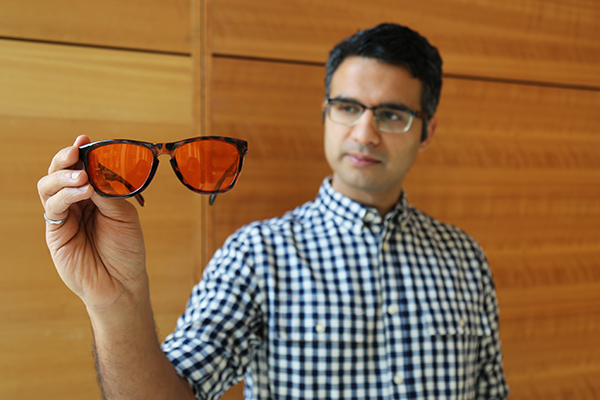 Amol Rao (MIE MEng candidate) is the founder of Somnitude, a startup company that helps people get better sleep with its blue-wavelength-filtering glasses. Rao partnered with Freestyle Canada to ship 30 of his company's glasses to Olympic athletes ahead of the 2018 winter games. (Credit: Liz Do).