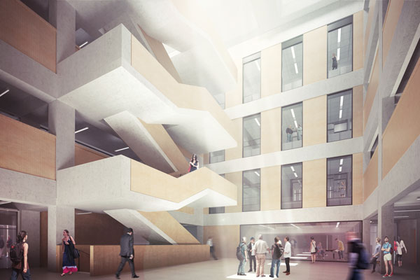 The atrium spans the top four levels of the Myhal Centre for Engineering Innovation & Entrepreneurship. (Image courtesy Montgomery Sisam Architects & Feilden Clegg Bradley Studios