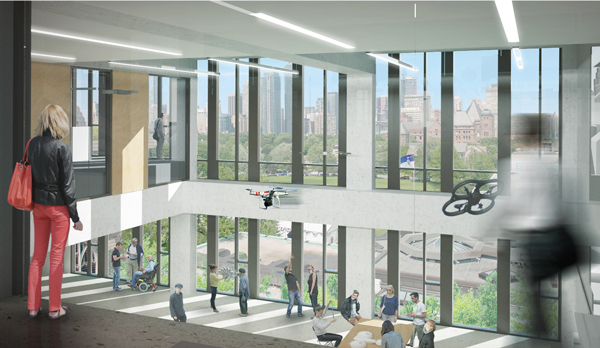 Autonomous drones and self-driving wheelchairs are just some of the devices being worked on in the Institute for Robotics and Mechatronics. (Image courtesy Montgomery Sisam Architects & Feilden Clegg Bradley Studios)