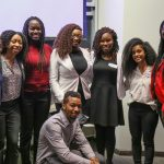 Back row, left to right: Elizabeth Njambi; Kyra Stephen (NSBE U of T Chapter - Promotions Chair); Portia Deterville (NSBE East Canada Zone Chair); Larisse Nana Kouadjo, P. Eng, PMP (Project Manager at WSP); Njeri Fraser (NSBE East Canada Zone PCI Chair); Yourdanos Tsegay (NSBE East Canada Zone Professionals Chair); Nicole Deterville (NSBE East Canada Zone Secretary). Front row: Chiora Mba-Uzoukwu (NSBE U of T Chapter - PCI Chair). (Photo: Kyle Coulter)