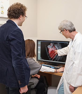 Professor Trivero, Dr. Jiménez-Juan and Dr. Fremes (left to right) discuss a CT scan of the heart (Credit: Jessica MacInnis).
