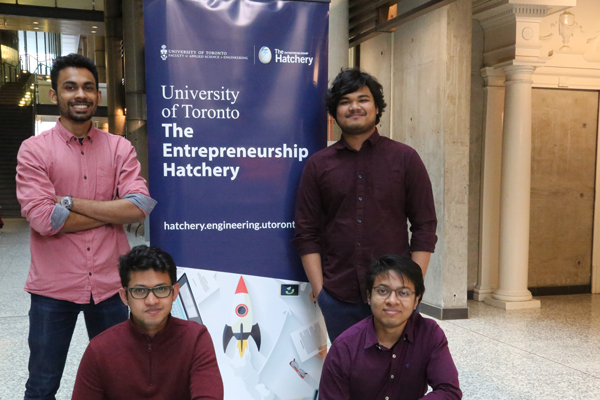 Clockwise from left: Mubtaseem Zaman, Tanvir Shahriar, Sadman Hasan and Farhad Siddique are the members of point 37, one of more than 100 teams to apply to The Entrepreneurship Hatchery this year. (Photo: Tyler Irving)