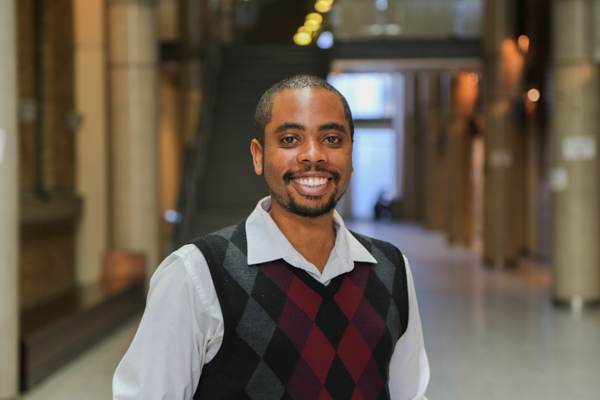 Mikhail Burke (MSE 1T2, IBBME PhD 1T8) is the new Dean's Advisor on Black Inclusivity Initiatives and Student Inclusion & Transition Mentor (Photo: Tyler Irving)
