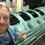 Charlie Katrycz (MIE MEng candidate) worked at Walter Klassen FX, where he was part of the team that constructed the tank for the Oscar-winning film The Shape of Water. (Photo courtesy Charlie Katrycz)