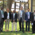 Left to right: Dr. Franco Muleya (The Copperbelt University), Dr. Nadine Ibrahim (CivE postdoctoral researcher), Dr.Innocent Musonda (University of Johannesburg), Professor Murray Metcalfe (MIE), Malik Ismail (EngSci 1T6 + PEY), and Dr. Erastus Mwanaumo (University of Zambia). Ismail visited Zambia to present the results of his Engineering Science thesis project, which inspired him to create Global Engineering Week at U of T Engineering. (Photo: Courtesy Murray Metcalfe)