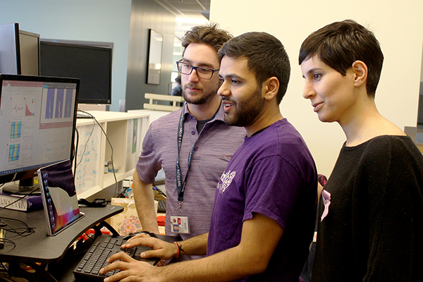 From left, biomedical engineering PhD students Chaim Katz, Kramay Patel and Sara Mahallati are members of Dr.Taufik A. Valiante's Neuron to Brain lab at the Toronto Western Hospital. The multidisciplinary team conducts research on brain activity and behaviour to improve quality of life for individuals with epilepsy. (Credit: Luke Ng).