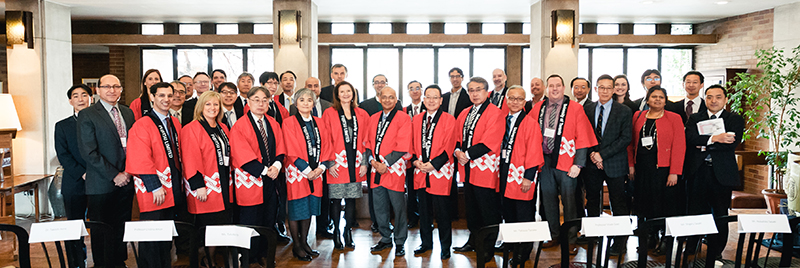A global delegation from Fujitsu Inc., including Fujitsu President Tatsuya Tanaka, met with University of Toronto leadership on Wednesday, March 14, 2018 to discuss the thriving research collaboration. (Credit: Phil Babcock).